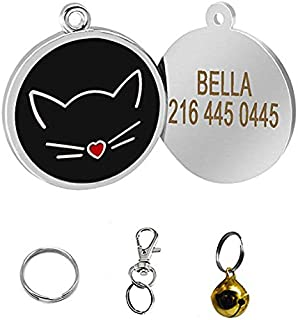 Didog Pretty Cute Lovely Cat Face Shape Custom Pet ID Tags for Cats,Personlized Engraving,Black,S Size