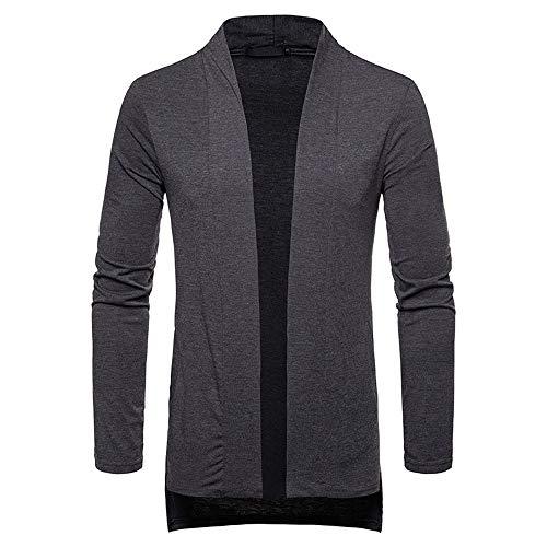 ZIYOU ZIYOU Trenchcoat Herren Herbst Winter, Formale Slim fit Langarm Jacke Top Bluse Sweatjacke Mantel für Männer (S,Dunkelgrau)