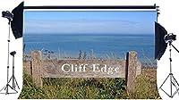 新しい崖のエッジの背景7X5FTビニール熱帯砂のビーチの背景ブルーオーシャングリーングラスフィールド夏の旅写真の背景女の子の恋人の結婚式の観光写真スタジオの小道具19
