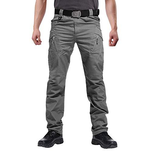 FEDTOSING Cargohose Herren Vintage Militär Tactical Hosen mit Stretch Arbeitshose Outdoor Viele Taschen Leichte Baumwolle(EUGrau S, 30W30L