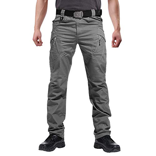 FEDTOSING Cargohose Herren Vintage Militär Tactical Hosen mit Stretch Arbeitshose Outdoor Viele Taschen Leichte Baumwolle Grey 40x32