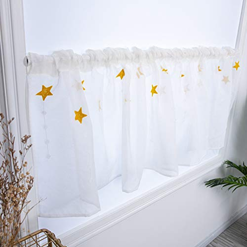 Yinew gestickte Blumen-halbe Vorhänge lichtdurchlässige Kurze Vorhang-Tür-Fach-Küchen-Badezimmer-Dekoration, Stern-Gelb