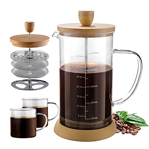 French Press Coffee Maker 34 oz, Double Filters Bamboo French Press, Thicken Heat-Resistant Borosilicate Glass Press Coffee Maker with 2 Glasses Cup