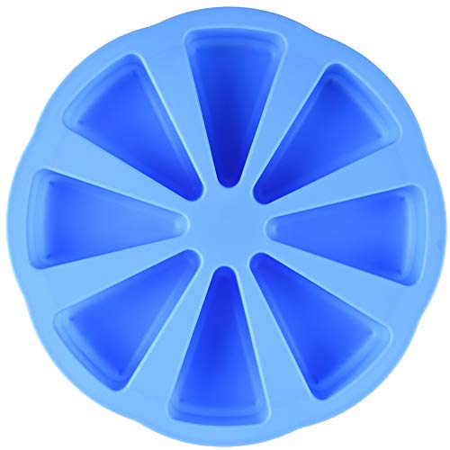 Mirenlife 8 Triangle Cavity Silicone Portion Cake Pan Scottish Scone & Cornbread Pan Slices Pastry Pan Pizza Slices Pan (Blue)
