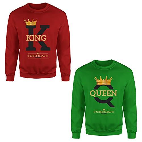 Sudadera King Queen de Navidad, impresión sin capucha, manga larga, s