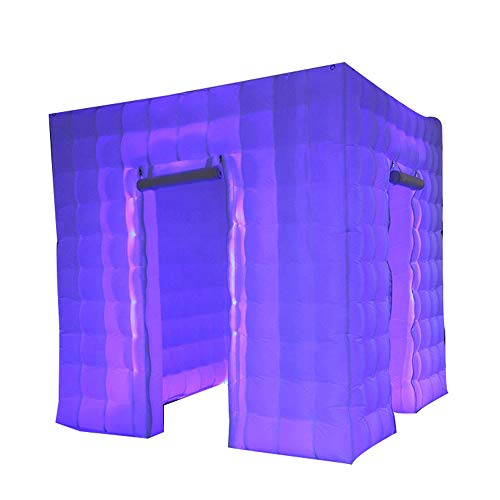 Inflatable Portable Photo Booth Enclosure with LED Changing Lights Inner Air Blower and Controller for Wedding Party Advertising Photo Booth Tent Cube (two Door)