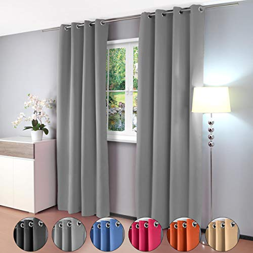 Gräfenstayn Alana - opacas cortina térmica 209 - Visillo con ojales, 100% poliéster, gris, 2 unidades
