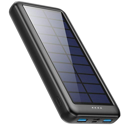 Pxwaxpy Cargador Solar 26800mAh, Power Bank Solar 【Entradas Tipo C & Mirco USB】 Batería Externa Solar de Carga Rápida Cargador Movil Portatil con 2 Puertos USB para Smartphones, Tablet, Cámara etc