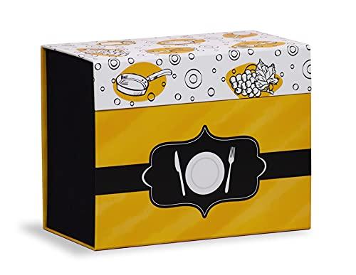 Mareli Caja de Recetas con 60 Tarjetas ilustradas para Rellenar con Recetas y 6 divisores con diseño de Alimentos, Negro y Amarillo, 22,5 x 11 x 17 cm