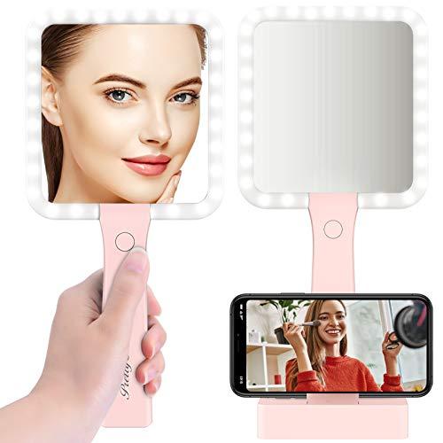 Espejo Maquillaje con Luz LED Doble Cara 5X Aumento Carga con USB, PRETTY SEE Espejo Cosmético con 3 Modos de Color Rose