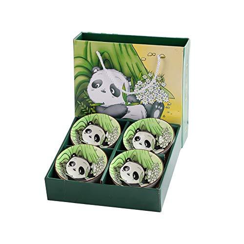 Cuencos Panda Porcelana Sopa Estampado Tazones de cereales Conjunto 4 Individual Diseños de animales lindos Cuencos de arroz de cerámica para cereales Sopa Helado estreno de una casa (4)