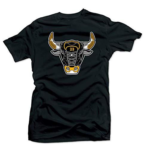 Jordan 12 University Gold Match Tees - Bull 12 Black, Medium