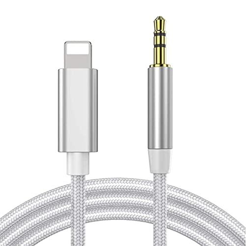 Auto AUX Kabel für iPhone, Audiokabel Aux Kabel auf 3.5mm Premium Audio für iPhone 12/12 Pro, 11/11 Pro/, 7/7 Plus, 8/8 Plus/X/XS/XR, iPad, Auto-Stereoanlagen, Lautsprecher, Kopfhörer-Silber