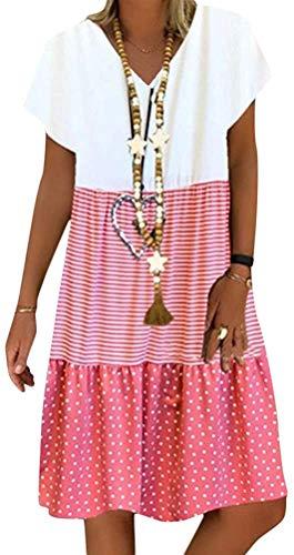 Sommerkleid Damen V-Ausschnitt Strandkleider Kurzarm A-Linie Patchwork Freizeitkleid MiniKleid Kleid (Rosa, Medium)