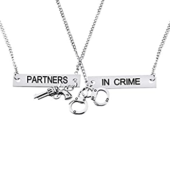 MJartoria Best Friend Necklaces Partners in Crime Engraved Friendship BFF Necklace for 2 Silver color3