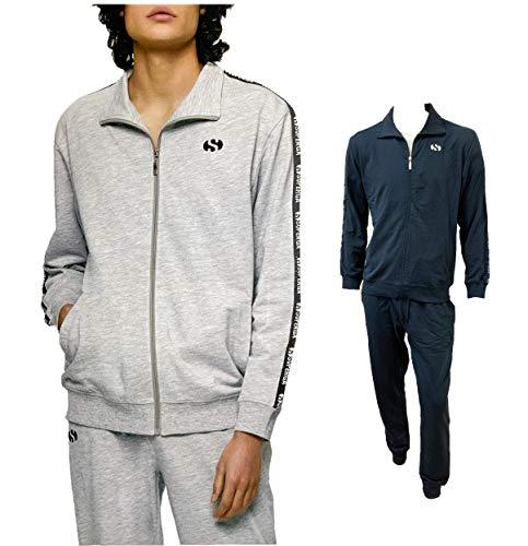 SUPERGA Tuta Uomo Estiva, Giacca e pantalone in felpa estiva, Tuta uomo sportiva (21500 BLU, XXL)