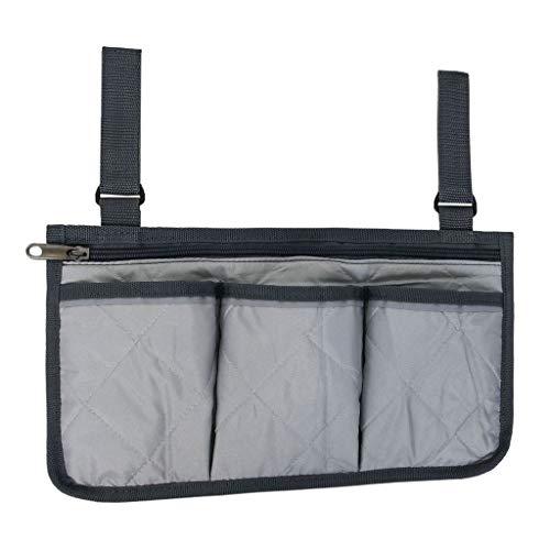 Unbekannt Rollstuhl Aufbewahrungstasche Rollstuhltasche Armlehnentasche Seitentasche - Grau, 32,5 x 18 cm