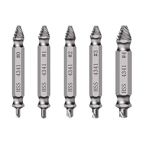 5 piezas extractor de tornillos material de alta dureza para quitar el tornillo roto para sacar las herramientas eléctricas de perno dañado