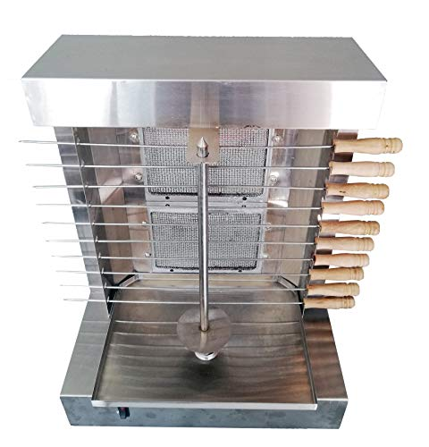 Hunslow Tacos Al Pastor Doner Kebab Shawarma Gas Burner Grill - Vertical Broiler - Automatic 2 Burners Machine with 10 Side Kebab Skewers - 2, 3 and 4 Burners Propane Gas Option (2 Burners)