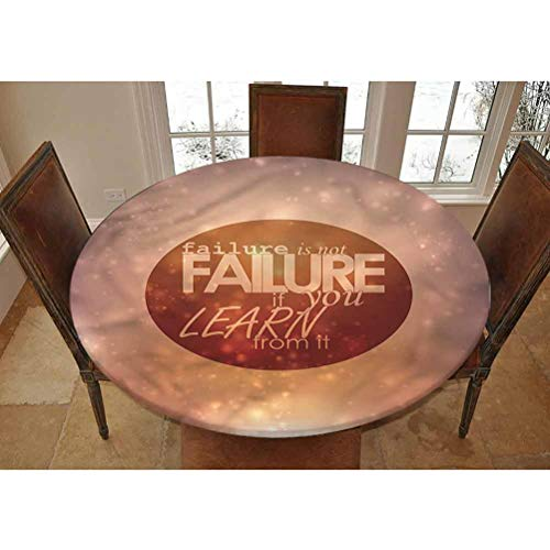Quote Elastic Edged Polyester Fitted Tablecolth -Learn from Failures Slogan- Small Round Fitted Table Cover - Fits Tables up to 40-44' Diameter,The Ultimate Protection for Your Table