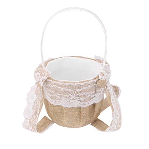 Western Style Wedding Decor Hessian Burlap Wedding Flower Girl Basket with Lace Bowknots Rustic Wedding Favor