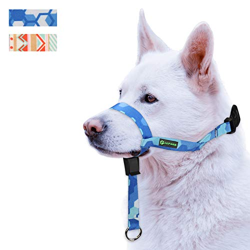 ILEPARK Correa de Adiestramiento el Collar para Perros de Bozal y Deja de Tirar, Ajustable, Herramienta de Entrenamiento(M,Azul)