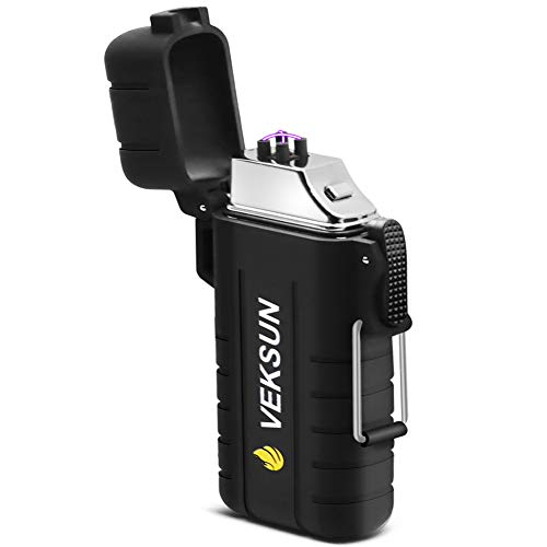 Veksun Waterproof Lighter, Plasma Dua Arc Lighter USB Rechargeable Lighters Flameless Windproof Lighter with Lanyard for Fire Starter, Hiking,Backpacking,Camping,Hunting, Survival Gear,Bushcraft Gear