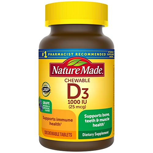 Nature Made Vitamin D3, 120 Chewable Tablets, Vitamin D 1000 IU (25 mcg) Helps Support Immune Health, Strong Bones and Teeth, & Muscle Function, One Daily Chewable Tablet
