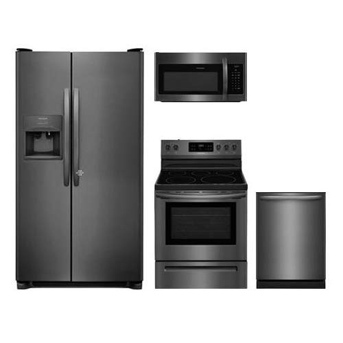 Frigidaire 4-Piece Kitchen Package with FFSS2615TD 36 Side by Side Refrigerator, FFEF3054TD 30 Freestanding Electric Range, FFMV1645TD 30 Microwave Oven, and FFID2426TD 24 Built In Fully Integrate Dishwasher in Black Stainless Steel