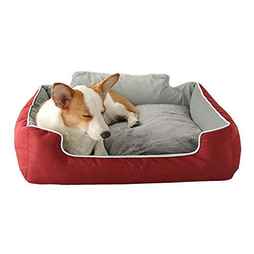 Cama para Mascotas Universal Suave Y Cómoda De Cuatro Estaciones Extraíble Y Lavable De Dos Lados, Tamaño 48x39x23cm (Rojo)
