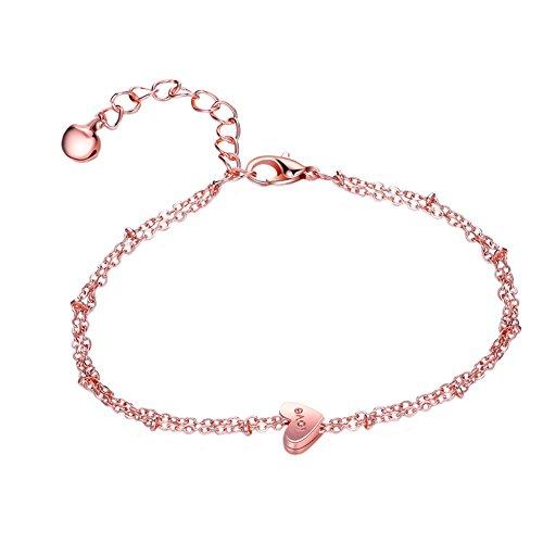 Drawihi Pulsera Doble en Forma de corazón Pie del pie del pie, Tobillera de Oro Rosa, Longitud de la Cadena 20 + 5cm