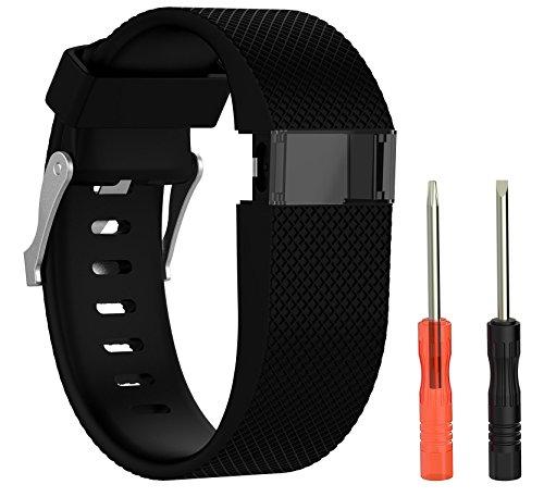 BlueBeach® Adjustable Fitbit Charge HR Reemplazo Correa de Reloj Banda de Silicona Pulsera (Negro)