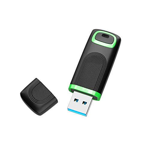 KEXIN USB Pendrive 256GB Memoria USB 3.0, Mini Pen Drive con Tapa Memoria Flash USB 256GB USB 3.0 Alta Velocidad para PC Computadora, Tableta,Macbook, TV [256GB Verde y Negro]
