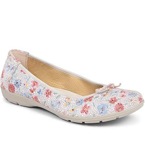 Pavers Damen Leder Ballerinas mit Schleife Schuhe Komfort Geblümt 40 EU