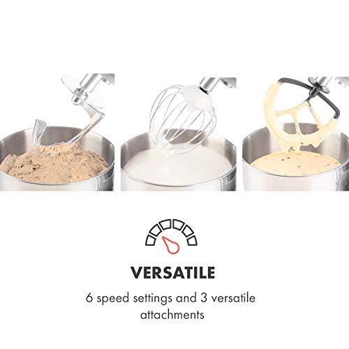 Klarstein Bella Argentea Küchenmaschine Rührgerät (1200 Watt, 5,2 Liter-Rührschüssel, 6-stufige Geschwindigkeit) silber - 5