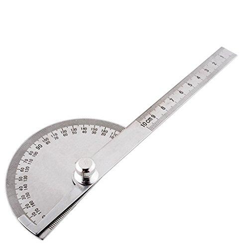 Kcopo Winkelmesser Lineal Edelstahl Winkelmesser Rotating Winkelmesser 180° Winkelmesser Messen Winkelmesser Als mathematisches Werkzeug und zur Messung der Winkelgröße Durchmesser100MM