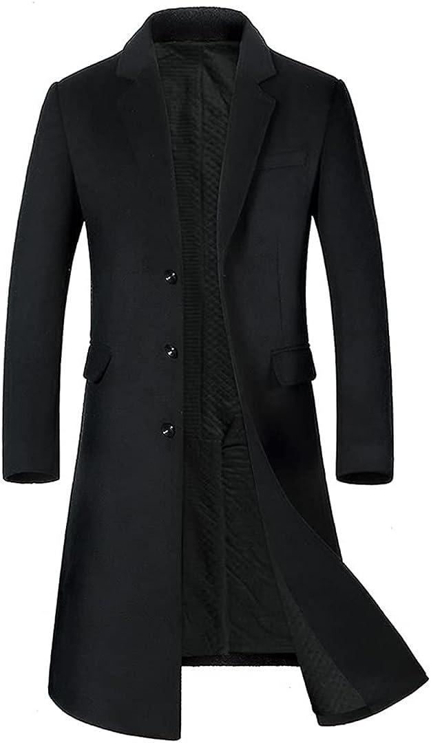 Men Long Wool Coat Thicken Mens Trench Coat Fashion Mens Woolen Overcoat Long Jacket