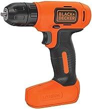 Black+Decker 7.2V Li-Ion Cordless Electric Compact Drill Driver for Screwdriving & Fastening, Orange/Black - BDCD8-B5, 2 Y...