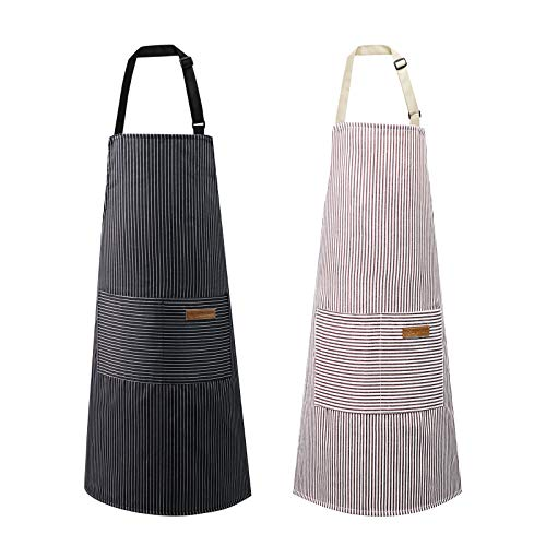 2 Pack Apron Cotton Cooking Kitchen Aprons Adjustable Bib Apron with 2 Pockets for Men Women Chef ApronsBlack/Brown Stripes