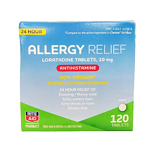 Rite Aid 24 Hour Loratadine 10 mg Allergy Relief Tablets  10mg - 120 Count   Non-Drowsy Allergy Pills   Non-Drowsy Allergy Medicine
