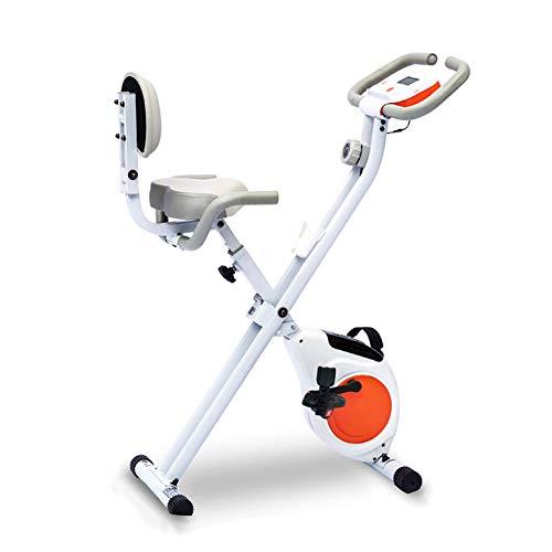 XIUQI Bicicleta Estática Plegable,Bicicleta Fitness con 8 Niveles De Resistencia, Inicio Entrenador De Ciclismo para Interiores Equipo De Fitness,Amarillo
