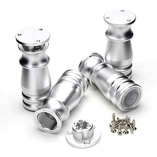 Aluminio Ajustable 80 mm Patas de Muebles Gabinetes Mesas Tablas Sofá Sofá Piezas con Base de Goma Antideslizante Plata Conjunto de 4