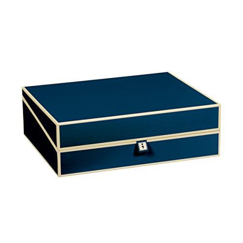 Semikolon (352571) Dokumentenbox marine (blau) - Aufbewahrungs-Box für Dokumente im A4 Format - geräumige Box im Format 31,5 × 26 × 10 cm