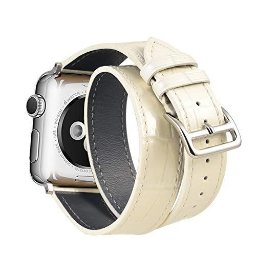 Ribivaul Piel de Becerro Doble Círculo Correa de Reloj de Patrón de cocodrilo 38mm 40mm 42mm 44mm para Apple Watch Serie 4,3,2,1.