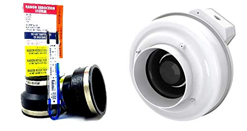 Fantech Rn2 Radon Fan + Install Kit (Black, 3x4)