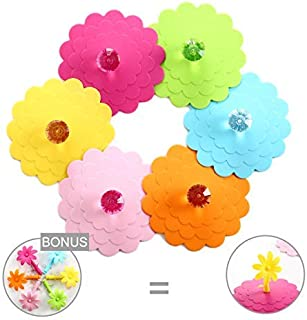 Extra Large Silicone Cup Lid Camping Mug Lid - Tea Cup Lid Coffee Cup Lid Silicone Coffee Mug Covers Universal Cup Lids Silicone Outdoor Drink Cover Cup Dust Cover with Bonus 6 Flower Knob