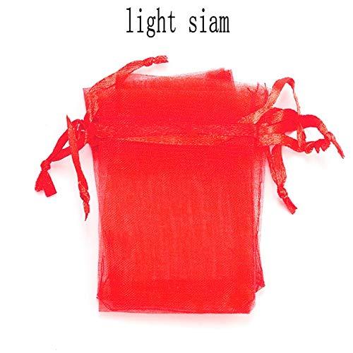 SASDA 100pcs / Lot Organza Beutel 5 * 7cm, 7 * 9cm, 9x12cm Kleines Schmuck Tasche kleine Geschenk-Taschen Weihnachtshochzeits-Tasche Beuter Geschenk-Beutel Schmuck Verpackung anzeigen,Licht sia.