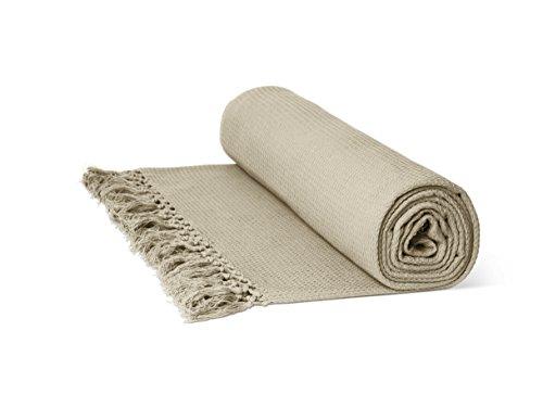 Just Contempo Überwurf/Tagesdecke, aus 100prozent Baumwolle, mit Wabenstruktur, extragroß, 100prozent Baumwolle, cremefarben, Double 90
