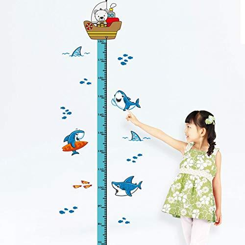 YLBHD Telémetro para niños, Animal, tiburón, Elefante, medidor para niños, Pegatinas de Pared para decoración de Habitaciones de niños, Tabla de Alturas, Pegatina de Vinilo