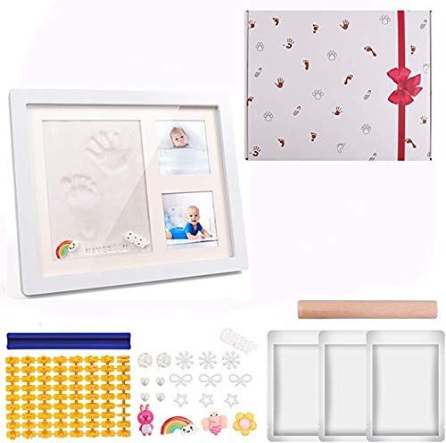 Baby Handabdruck und Fußabdruck Baby Holz Bilderrahmen mit Gipsabdruck Hand und Fußabdruck Set baby Geschenke Geburtstaggeschenk